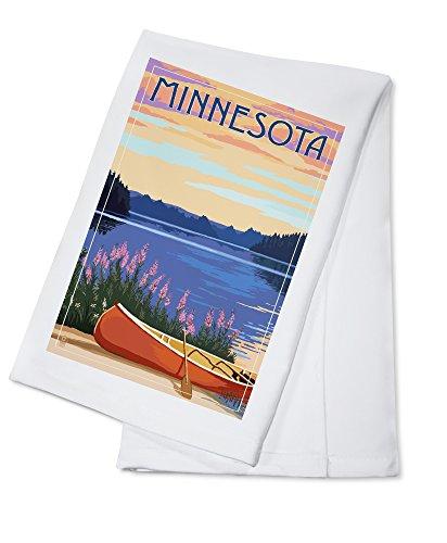 Minnesota - Canoe and Lake (100% Cotton Kitchen Towel)