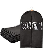 Suit Covers for Men, Zippered Garment Bags for Closet Storage (24x40 In, Black, 6 Pack)