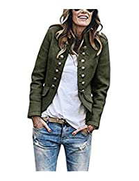 Romose Women Fall Winter Blazer Button Military Blazer Stand Collar Office Suit Coat Jacket