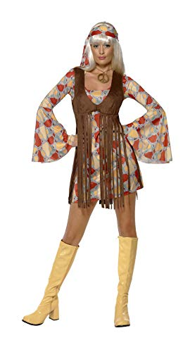Smiffys Women's 1960's Groovy Baby Costume, Dress and Fringe Waistcoat, 60's Groovy Baby, Serious Fun, Size 6-8, -