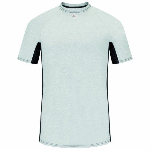 Bulwark Flame Resistant 5.5 oz Cotton/Polyester Short Sleeve Two-Tone Base Layer Shirt, Grey, X Large