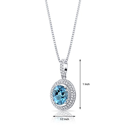 Revoni Bague en Topaze Bleu Suisse Halo collier avec pendentif Femme-Argent 925/10002,75Carats
