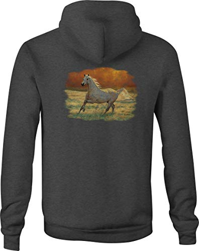 Motorcycle Zip Up Hoodie Arabian White Horse Running in The Field - XL Gray ()