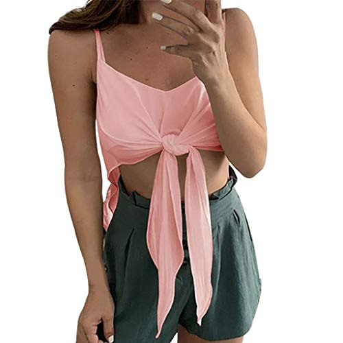(Sunhusing Women's Solid Color Sleeveless V-Neck Camisole Vest Casual Short Strappy Lace-Up Top Pink)
