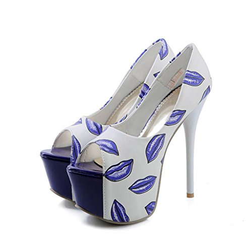 EKS Women's Ceoiv Platform Extra High Heel Sandals Blue 7.5 US