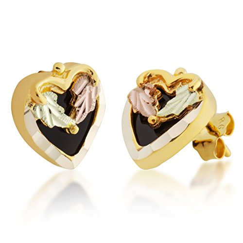 Mt Rushmore Gold 10k Black Hills Gold Heart Earrings with 8 mm Onyx and 14k Gold Posts - G 3020OX -