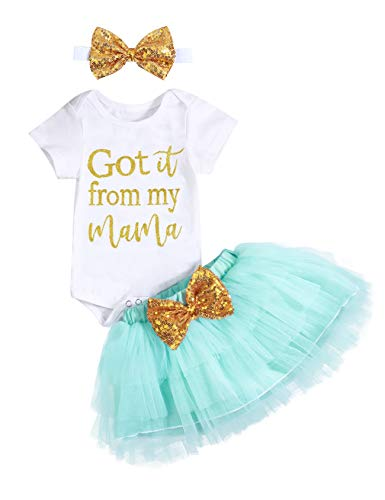 Baby Girl Summer Outfits Got It from My Mama Short Sleeve Rompers for Girls Tutu Skirt with Headband Newborn Clothes Set (0-3m/70) Green