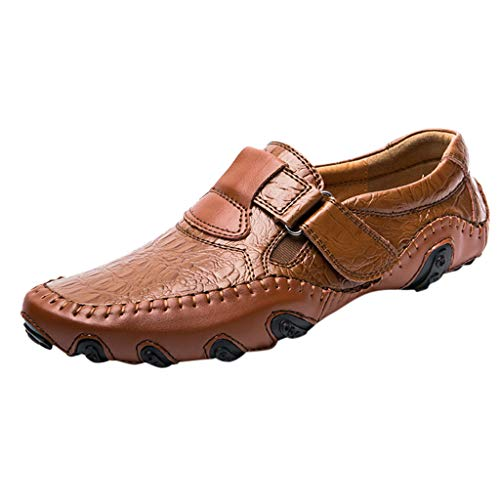 LUCAMORE Men's Driving Causal Loafers Slip On Leather Flats Classic Comfortable Walking Shoes Brown ()