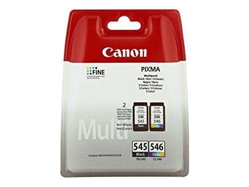 Canon PG-545/CL-546 Multipack - Cartucho de tinta para impresoras (Negro, Cian, Magenta, Amarillo, PIXMA MG2450, Inyección...