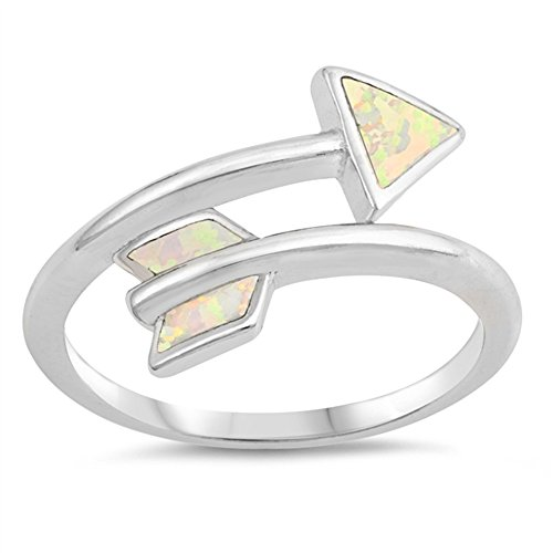 CloseoutWarehouse White Simulated Opal Wraparound Arrow Ring Sterling Silver Size 10 (Arrow Ring Wrap)