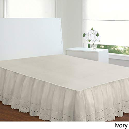 1 Piece Hanging 14inch Long Ivory White Queen Bedskirt Ruffled Old Fashioned Style, French Country Pattern Stylish Eyelet Vintage Antique Classic Victorian Drops Covers Box Spring, Cotton Polyester