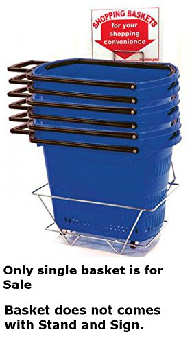 Single Pull Rolling Blue Shopping Basket without Stand and Sign