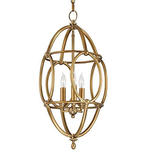 Zenobe Hollywood Regency Antique Brass Egg Shape Pendant
