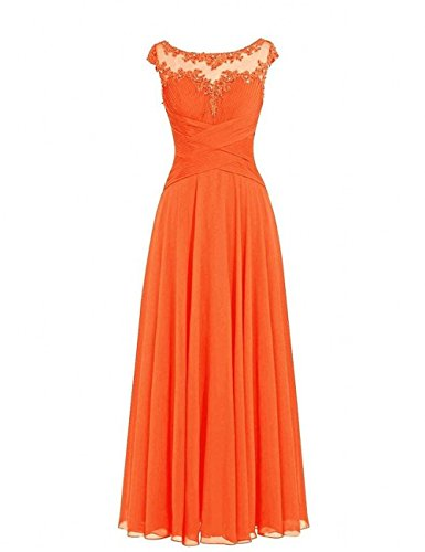 Hundkragen Abschlussballkleider A Chiffon Abendkleider Spitze Orange Linie Charmant Elegant Lang Partykleider Rock Damen WnRIZ6