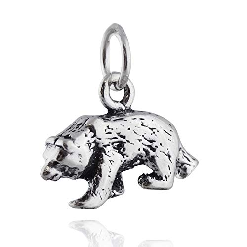 Bear Charm - 925 Sterling Silver - Brown Black Grizzly Cub Wild Animal Zoo - Jewelry Accessories Key Chain Bracelets Crafting Bracelet Necklace Pendants