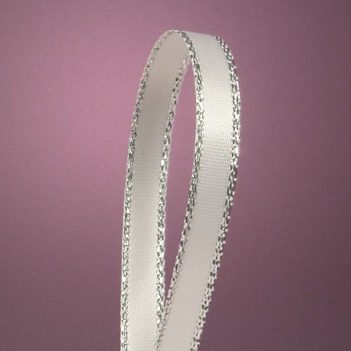 "White Satin Ribbon with Silver Border, 1/4"" X 50Yd"