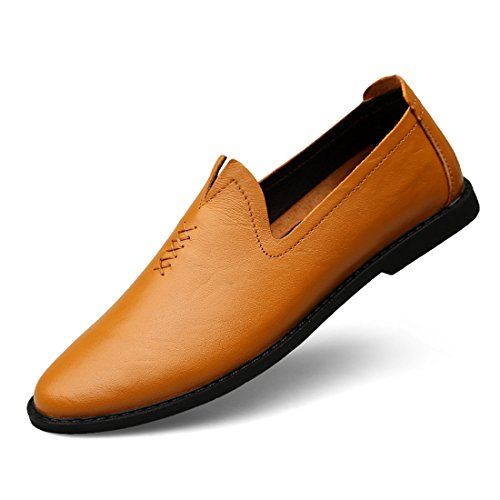 Minitoo Boys Mens Fashion Slip-Ons Casual Loafers Light Brown