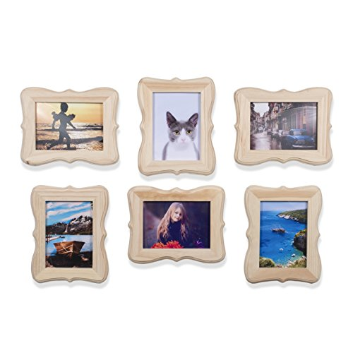 WALLNITURE Victorian Picture Frames DIY Projects Crafting Unfinished Wood for 5x7 Inch Photos Set of 6