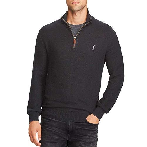 Polo RL Men's Waffle Knit Half Zip Sweatshirt (Large, Granite)