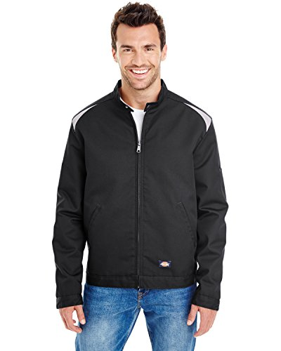 Dickies Occupational Workwear Lj605bksvm Lj605 Color Block Shop Jacket, Fabric, Medium, Blacksilver
