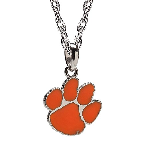 - CLEMSON ORANGE PAW CHARM PENDANT NECKLACE - STAINLESS STEEL