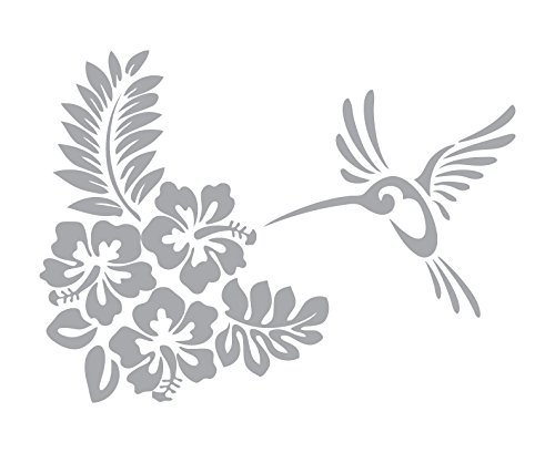 (Hibiscus and Hummingbird - Coastal Design Series - Etched Decal - For Shower Doors, Glass Doors and Windows - 14