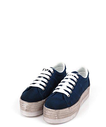 Jeffrey Campbell ZOMG Washed Canvas Blue–Zapatillas de gimnasia azul y blancas Azul