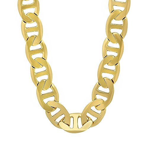 - The Bling Factory Men's 12mm 14k Gold Plated Mariner Link Chain Necklace, 36