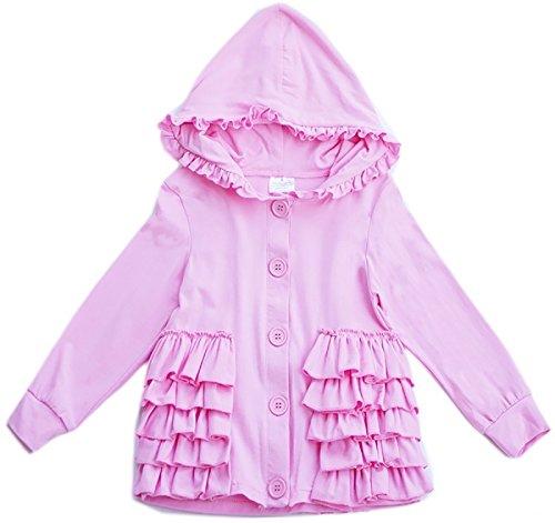 Little Girl Kids Long Sleeve Cotton Ruffles Hoodies Cardigan Sweater Bolero Pink 8 3XL (Ruffle Jacket Set)