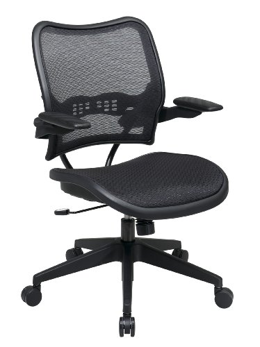 SPACE Seating Deluxe AirGrid Seat and Back, 2-to-1 Synchro Tilt Conrol and Cantilever Arms Managers Chair, Black ()
