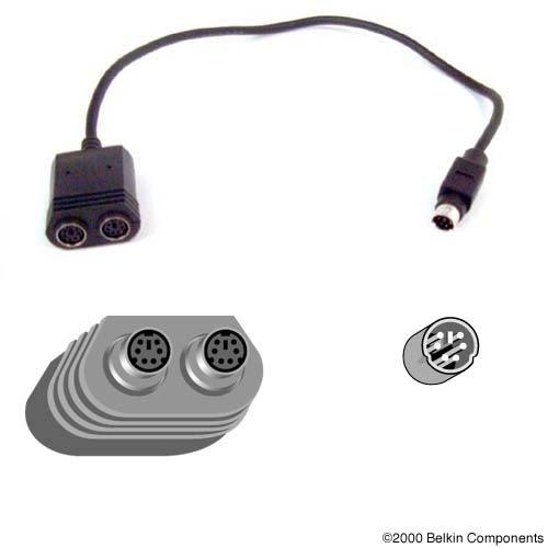 - 1ft IBM Thinkpad Laptop Y PS2 Din6m/2-din6f Splitter Keyb/mouse