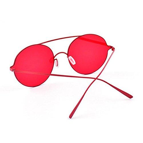 UV Color HOME Rojo Espejo Playa Plano Gafas Moda Amarillo Harajuku Borde Protección De QZ Square Vintage De Sin Sol ZUqffxw