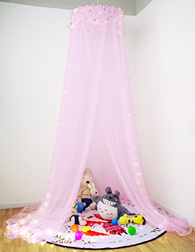 Loisleila Princess Lace and Net Round Bed Canopy by 120-Inch with Light ()