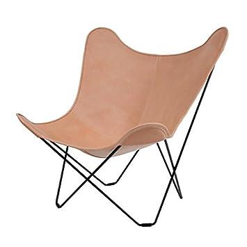 Cuero Leather Mariposa Butterfly Chair Sessel, Natur Italienisches Leder  Gestell Schwarz
