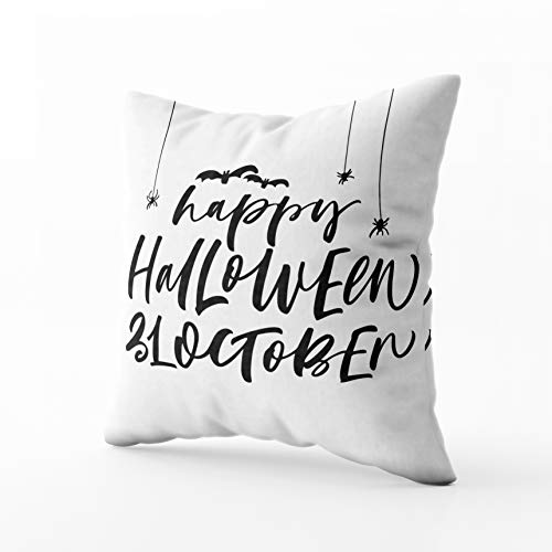 GROOTEY Square Pillowcase with Zip for Easter Couch Sofa Décor Happy Halloween Phrase October Holiday Ink Modern Calligraphy Isolated White Background 18X18Inch Throw Pillow Covers Cushion ()