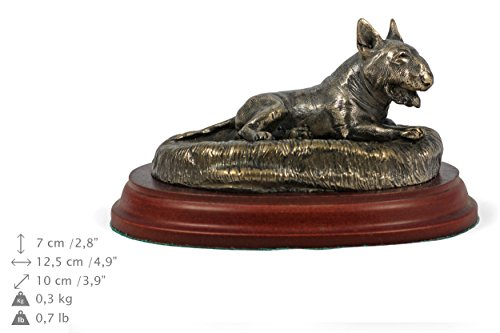 Bull Terrier (Lying Happy), Dog Figure, Statue on Woodenbase, Limited Edition, Artdog