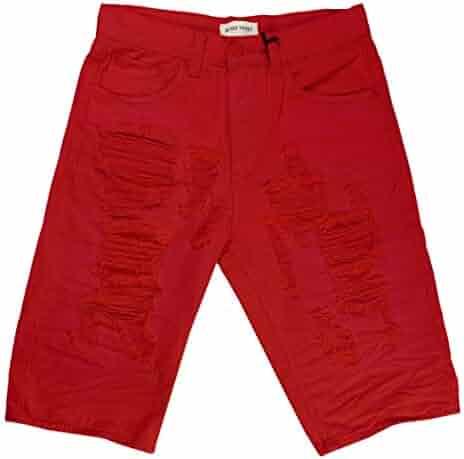 5b3f847cff Blind Trust Men's Big & Tall Distressed Solid Twill Shorts (Red, 44)