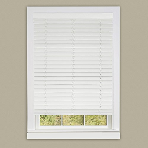 (Achim Home Furnishings Madera Falsa 2-Inch Slat Faux Wood Plantation Blind, 27 by 64-Inch,)