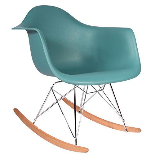 Mobistyl Promo Schaukelstuhl Design Inspiration, Füße helles Holz, Edelstahl Ozeanblau