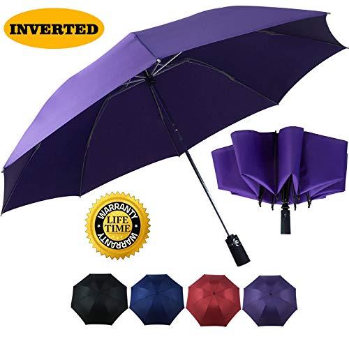 Double Layer Inverted Umbrella Auto Open Reverse Folding Umbrella Windproof UV Protection Big Straight Umbrella for Car Rain Outdoor Use