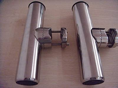 "Amarine-made 2pcs Stainless Clamp on Fishing Rod Holder for Rails 7/8"" to 1"""