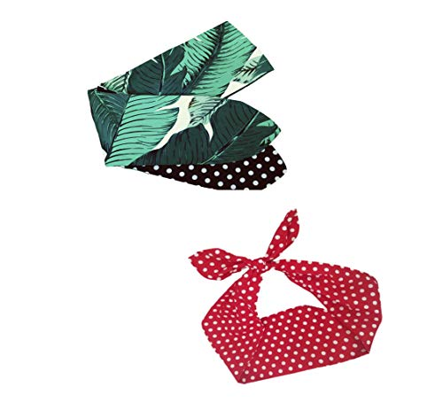 Shimmer Anna Shine Pin Up Girl Style Wire Adjustable Headband, 2 Pack (Tropical Leaves Reversible Polka Dot Print)