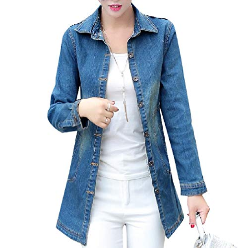 donne Parka Trim Della Blu Giacca Outwear fit Trench manica Cime Scuro Howme Lungo d45qFwCdx