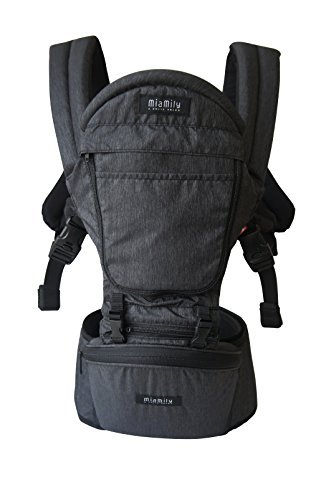 MiaMily Hipster Plus 3D Child & Baby Carrier - Perfect 360 Backpack Alternative for Hiking with 6 Carrying Positions and Ergonomic Design with Hip Protection for Toddler or Infant (Charcoal Grey) (Best Baby Carrier For Tall Parents)