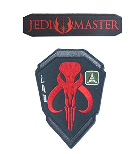 2pcs JEDI ORDER STAR WARS LOGO +Star Wars Boba Hunter Skull Embroidered Tactical Airsoft Hook&Loop Velcro Patch (3) (Logo Nose Skull)