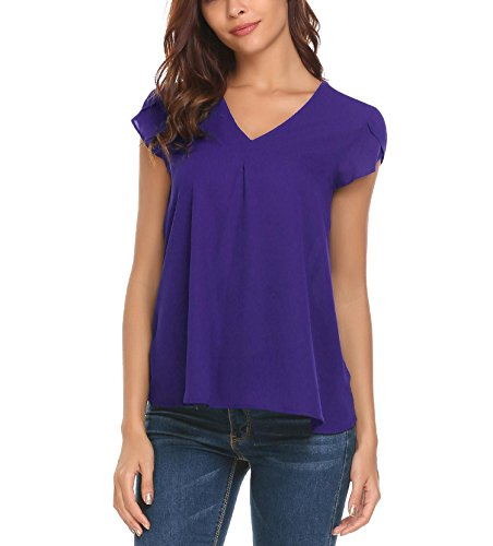 Concep Womens Casual Chiffon Top, V Neck Cap Sleeve Plus Size Blouse T-Shirts Purple XL (Cap T-shirt Womens Sleeve Night)