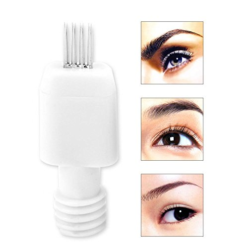 Eyebrow Tattoo Pen, 10Pairs Microblading Tattoo Semi Permanent Makeup No Scab Needles 3D Embroidery Blades (# 2 (4 Pins Augenbraue Nadel))
