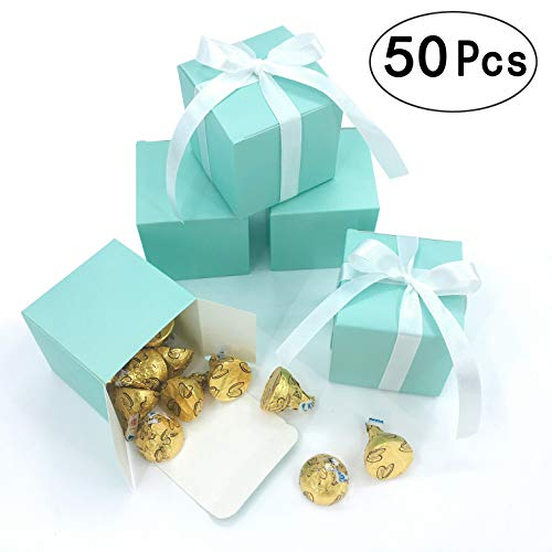 (Small Cube Turquoise Candy Treat Boxes Bulk Teal Blue Gift Boxes Wedding Favors Baby Bridal Shower Birthday Party Boxes Supplies, 50pc (Aqua)