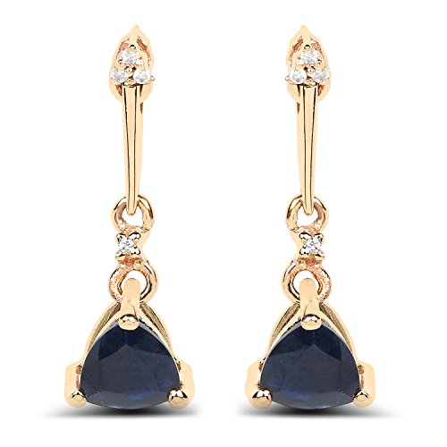 (14K Yellow Gold Blue Sapphire & White Diamond Earrings (0.92 ctw, I-J Color, I2-I3 Clarity) from)