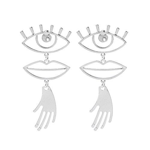 Kofun Earrings, Geometric Hollow Eye Lip Palm Statement Earrings for Women Abstract Face Jewelry Silver ()